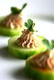 Cucumber Cups with salmon caviar