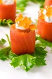 Smoked Salmon with Red Salmon Caviar